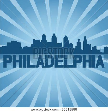 Philadelphia skyline reflected with blue sunburst vector illustration