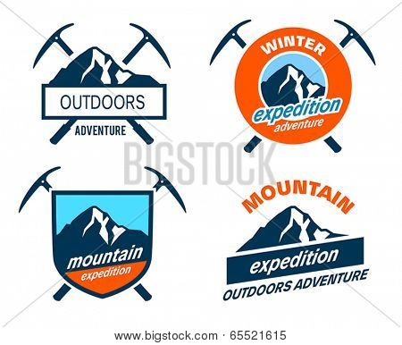 Collection of mountain expedition icons