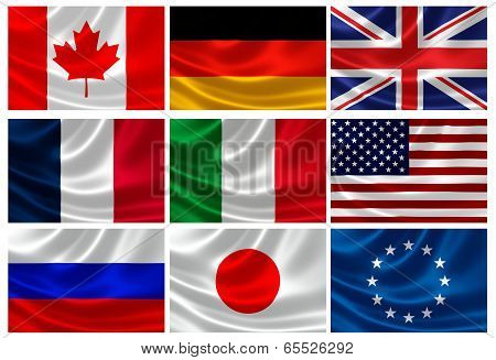 Flags Of The G8 Industrialized Countries And Eu