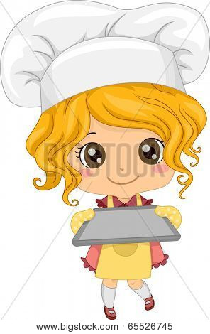 Illustration of a Little Girl Wearing a Toque Holding an Empty Baking Tray