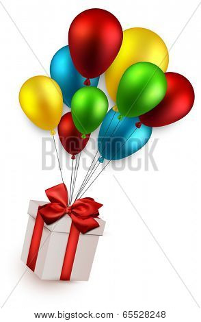 Gift box with red bow  flying on colorful balloons. Celebration background. Vector illustration.