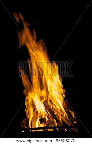High Flame Burning Wood In Stoves