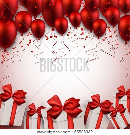 Celebration red background with balloons and confetti. Vector illustration.