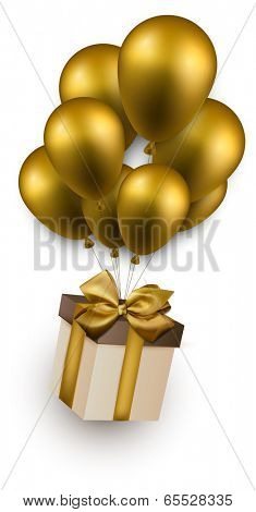Gift box with golden bow flying on balloons. Celebration background. Vector illustration.