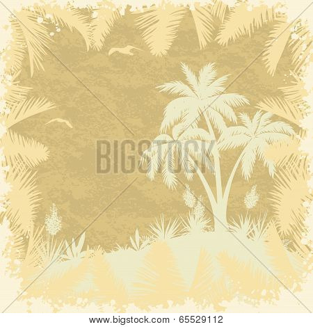 Tropical palms trees and seagulls silhouettes