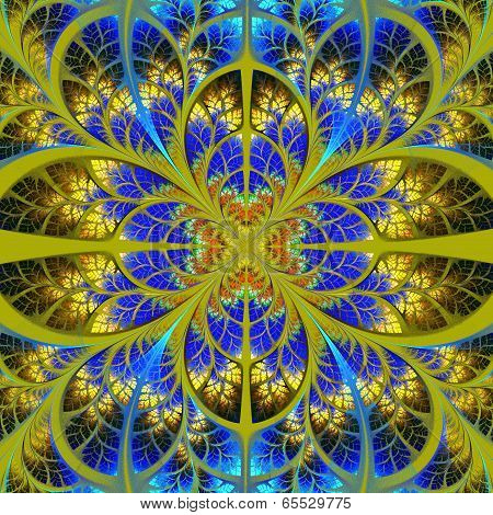Symmetrical fractal pattern. Collection - tree foliage. Blue and yellow palette. poster