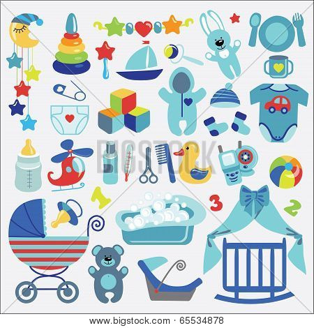 A set of cute items for Newborn Baby-boy.Baby cartoon icons for little boy.Baby shower design elements. poster