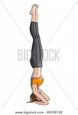 Girl doing yoga headstand Shirshasana