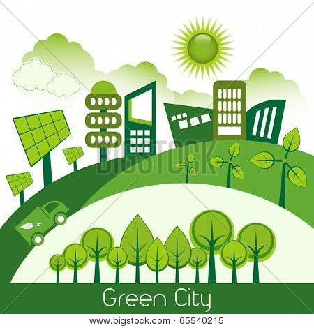 Green modern city living concept.