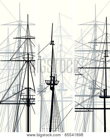 Vertical Vector Banners Of Ship's Masts And Sailyards.