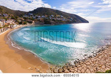Moraira playa el Portet beach high angle view in Mediterranean Alicante of Spain poster