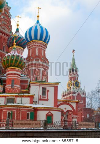 Russia. Spassky Tower And St. Basil's Cathedral