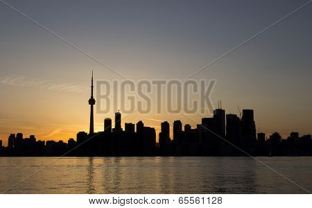Toronto Sunset Silhouette With Copy Space