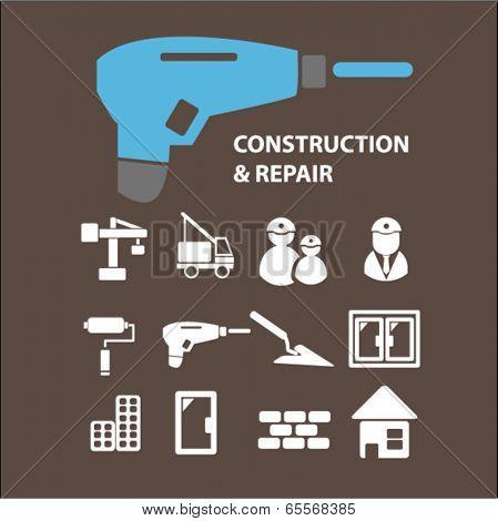 construction, tools, repair, works, builder, crane, windows, doors, city icons set, vector