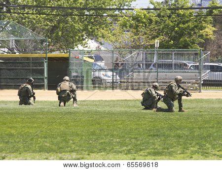 US Navy EOD team during mine countermeasures demonstration during Fleet Week 2014
