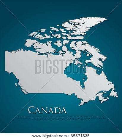 vector Canada Map card paper on blue background, high detailed