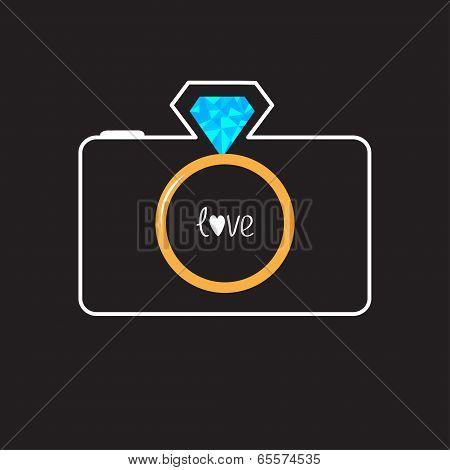 Photo camera with gold wedding ring lens. Diamond flash. Love ca