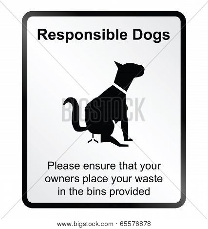 Monochrome responsible dog waste public information sign isolated on white background poster