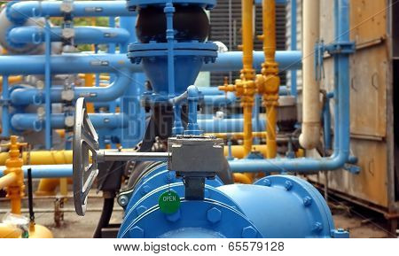 Blue And Yellow Air Conditioning Cooling Pipes