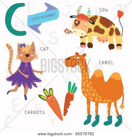 Very Cute Alphabet.c Letter. Cat, Cow, Camel, Carrots. Alphabet