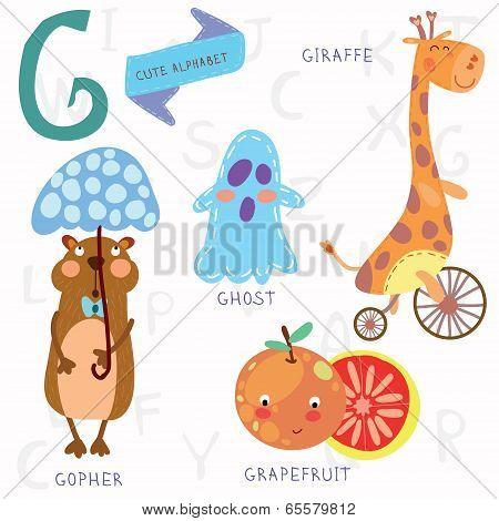Very Cute Alphabet. G Letter. Ghost,gopher, Giraffe, Grapefruit.