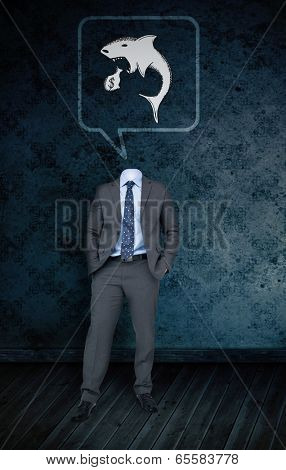 Composite image of headless businessman with loan shark in speech bubble against dark grimy room