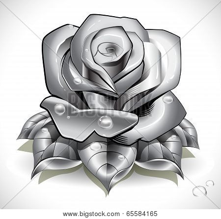 Tattoo Rose With Leafs And Water Drops