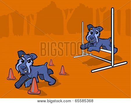 Dog Agility Training Cartoon