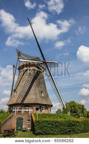 Beatrix Mill In Winssen Against A Blue Sky