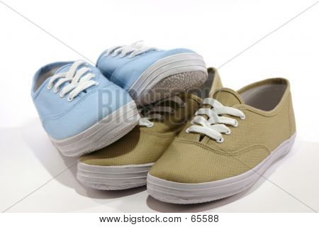pairs of shoes - beige and blue poster