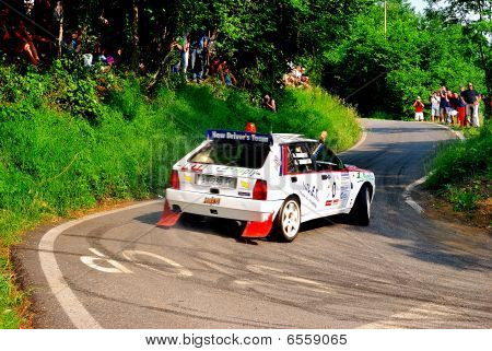 Lancia Delta Martini safety car at the Rally of Turin city