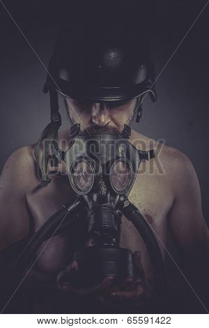 Pollution, nuclear and toxicological disaster ,man with gas mask