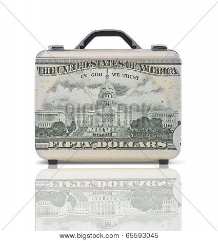 Business Suitcase For Travel With Reflection And 50 Dollars Note-recto