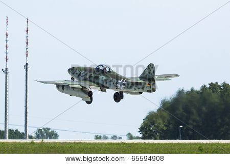 BERLIN, GERMANY - MAY 21, 2014: Messerschmitt Me 262 (Germany) demonstration during the International Aerospace Exhibition ILA Berlin Air Show-2014.