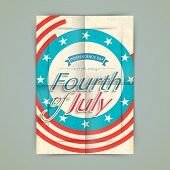 Vintage poster, banner or flyer design with stylish text Fourth of July on American flag color background.  poster
