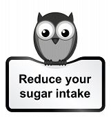 Monochrome obesity sugar intake sign isolated on white background poster