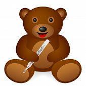Teddy bear medical thermometer on a white background. Vector illustration. poster