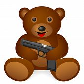 Teddy bear pistol on a white background. Vector illustration. poster