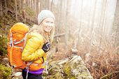 Woman hiking in autumn forest in mountains. Trekking recreation and healthy lifestyle outdoors in nature. Beauty blond backpacker looking at camera smiling bright light sunlight in background. poster