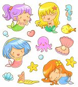 collection of adorable mermaids and related icons poster