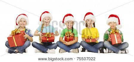Christmas Kids, Present Gift Box, Santa Red Hat, Children Boys And Girls Happy Greeting Xmas Holiday