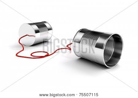 3d metal tins telephone on white background