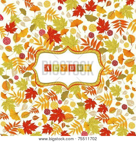 Background With Autumn Leaves Pattern And Banner