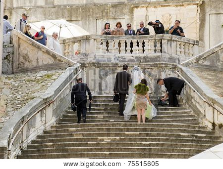 Just Married On The Stairs
