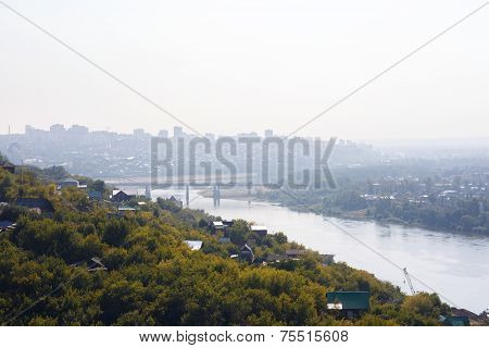 urban landscape of the city Ufa, Russia with pollution smog poster