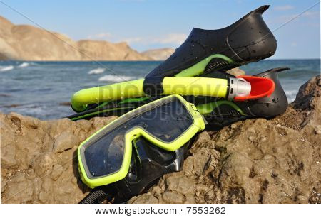 Flippers, Snorkel And Mask For Diving