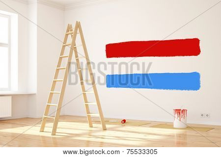 New paint color on wall in rool creates Luxembourg flag (3D Rendering)