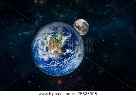 Earth with the moon. Elements of this image furnished by NASA