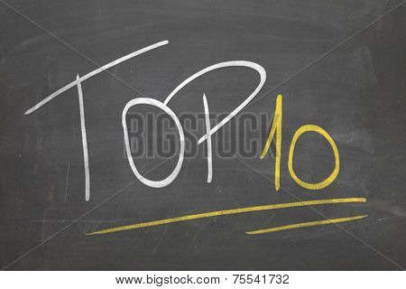 Blackboard with the text TOP 10