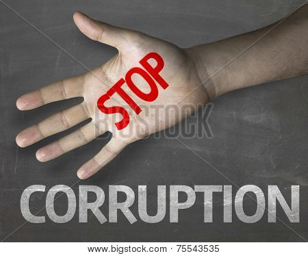 Creative composition with the message Stop Corruption